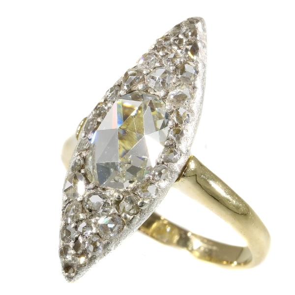 Vintage Belle Epoque navette shaped diamond ring